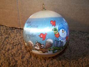1980-HALLMARK-Satin-Ornament-Grandson-Snowman-Ball-EUC