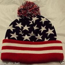 USA US AMERICA PATRIOTIC FLAG STARS STRIPES WINTER SKI KNIT POM BEANIE CAP HAT