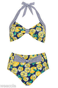 bc54617984f37 Image is loading PRIMARK-OCEAN-CLUB-RETRO-HIGH-WAISTED-LEMON-STRIPE-