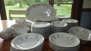 Large Lot Fine China Lucille by Meito China rimmed gold Hostess pcs 84 pcs 1960s