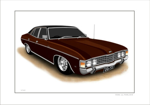 FORD   ZG  FAIRLANE  500  LIMITED EDITION CAR DRAWING  PRINT 7  CAR COLOURS