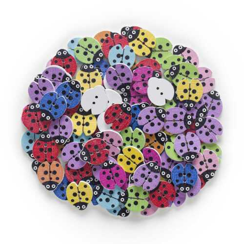 30pcs Ladybug Wood Buttons for Sewing Scrapbook Clothing Handmade Crafts Decor