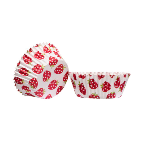 Medium Cupcake Cases Strawberry 60pcs Paper Greaseproof Baking Muffin Cups
