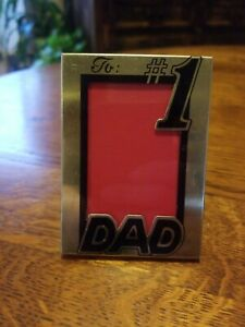 "Cute Vintage #1 DAD Small Standing Frame Kickstand Back Metal 2.5"" × 3.5"""