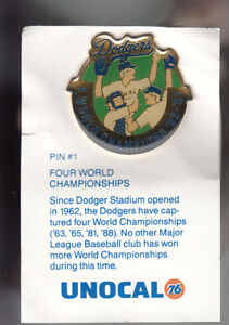 VINTAGE-L-A-DODGERS-UNOCAL-PIN-UNUSED-FOUR-WORLD-CHAMPIONSHIPS