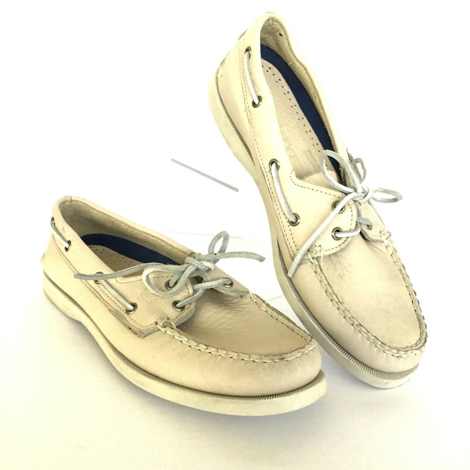 Sperry Top Sider Deck Schuhes Damens 9.5 M Ivory Leder Sneakers Yacht NEU 129