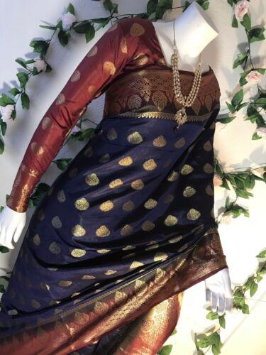 Indian Banarashi Semi Silk Soft Katan Saree In Black With Readymade Blouse.