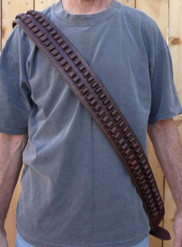 Western BANDOLIER BANDOLERO Strap Belt 30-30 Caliber Ammo Black Cowhide Leather