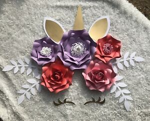 Details About Unicorn Paper Flowers Set Of 6 With Leaves Backdrop Unicorn Party Bedroom