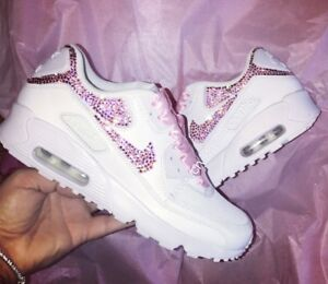 Crystal Princess Nike Air Max 90 in White with Pink Swarovski ... 0de330baa4
