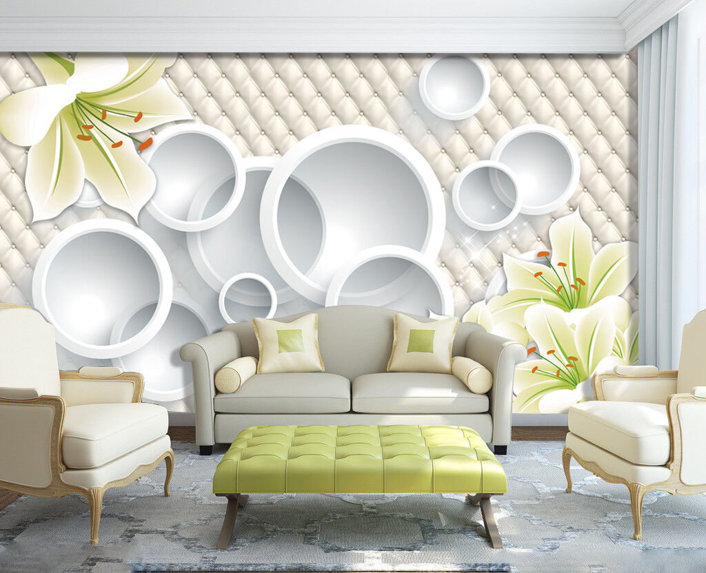 3D Rings And Flowers 2130 Wallpaper Decal Dercor Home Kids Nursery Mural Home