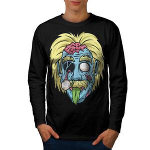 Zombie-Einstein-Cool-Geek-Men-Long-Sleeve-T-shirt-NEW-Wellcoda
