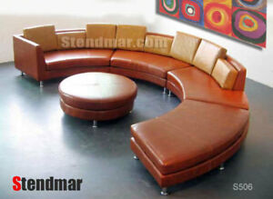 Details about 5PC NEW MODERN ROUND SECTIONAL LEATHER SOFA S506C
