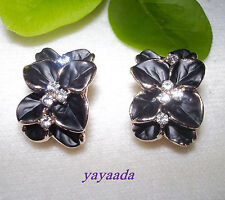 Gold Plated Earrings High Quality Gardenia Crystal Clip On Earring