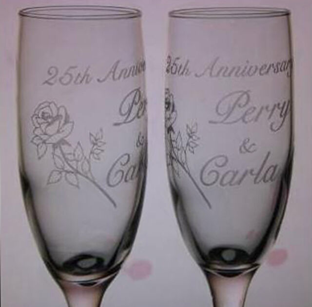 25th Anniversary Champagne Libbey Toasting Flutes Glasses Personalized 10th etc