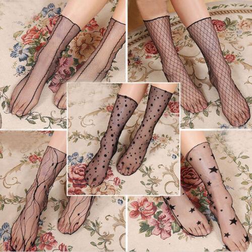 5//10 Pairs Womens Glitter Mesh Fishnet Transparent Silk Net Dot Star Snow Socks