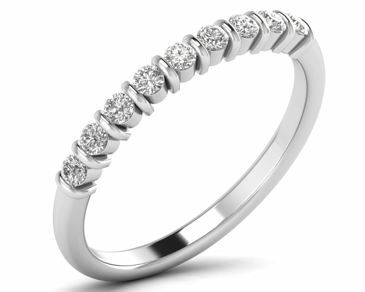 0.30 ct Round Brilliant Cut Diamonds Half Eternity Wedding Ring in 950 Platinum