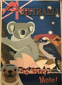 Vintage-Retro-Style-Australian-A3-Travel-Posters-Qantas-Bondi-Beach-Koala-Etc