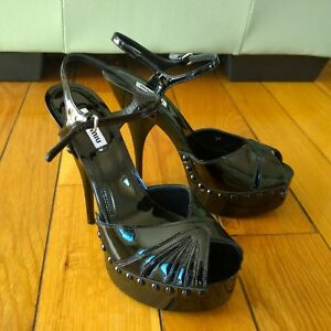 f1559337459 Image is loading MIU-MIU-Prada-Women-Studded-Patent-Leather-Platform-