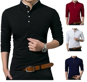 Homme-grand-pere-Shirts-Polo-Shirt-a-Manches-Longues-Col-Mandarin-Slim-Pique-PL14