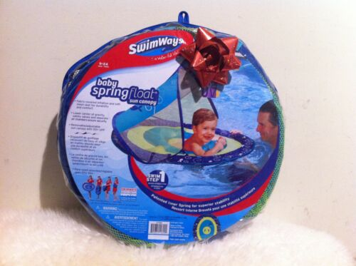 New SwimWays Baby Spring Float Sun Canopy Blue with Picture