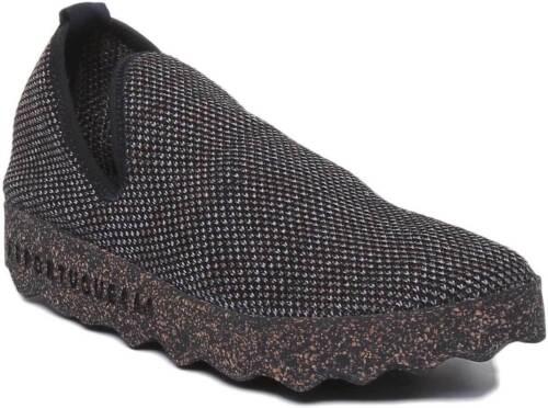 Asportuguesas City EcoFriendly Women Cotton Shoes Black Cork Sole Size UK 3-8
