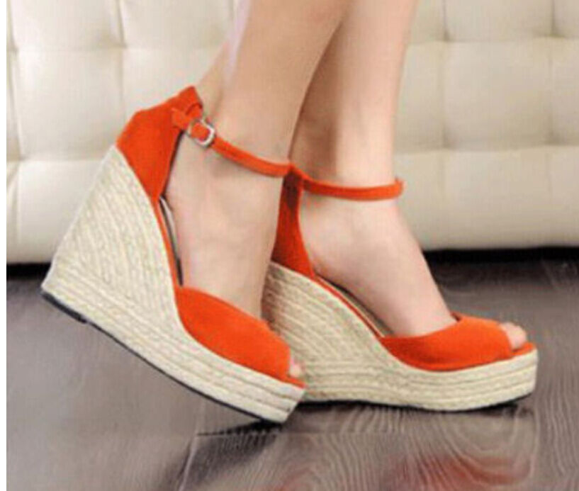 Womens Wedge One Straps Open Toe Ankle Straps Sandals Outdoor shoes Platform