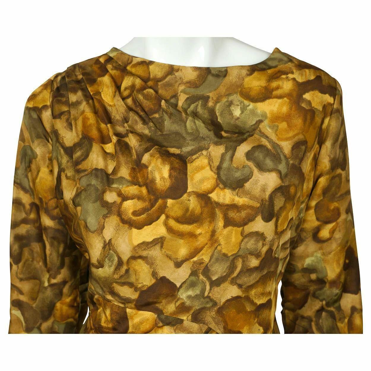 Vintage Ceil Chapman Wiggle Dress Abstract Leaf P… - image 5