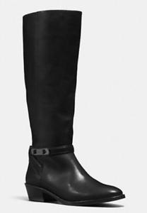 Venta en línea de descuento de fábrica Cuero Negro entrenador Caroline Rodilla Alto Nuevos Zapatos botas botas botas de montar  orden ahora disfrutar de gran descuento
