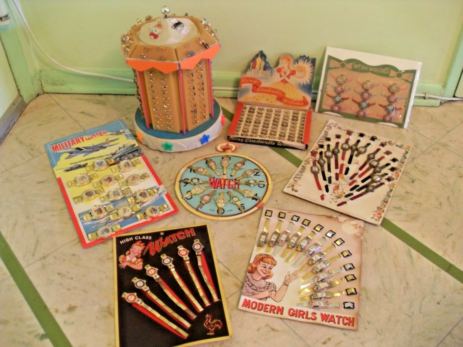 VINTAGE GIRLS AND BOYS TOY WATCHES DISPLAY