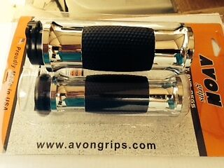 NEW STYLE CHROME AVON HAND GRIPS 4 HARLEY CABLE OPERATED SINGLE OR DUAL PULL