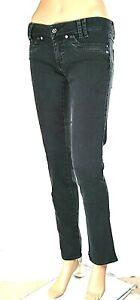 Jeans Donna Pantaloni MET Made in Italy Gamba Dritta Nero CA54 Tg 27