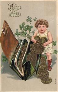 1900-039-s-FRENCH-GERMAN-BONNE-ANNEE-CHILD-GOLD-COINS-SPILLING-from-WALLET-POSTCARD