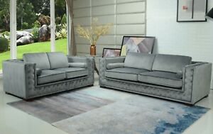 Velvet-Sofa-Fabric-Chesterfield-Style-3-seater-Grey-Brown-Black-Small-Compact