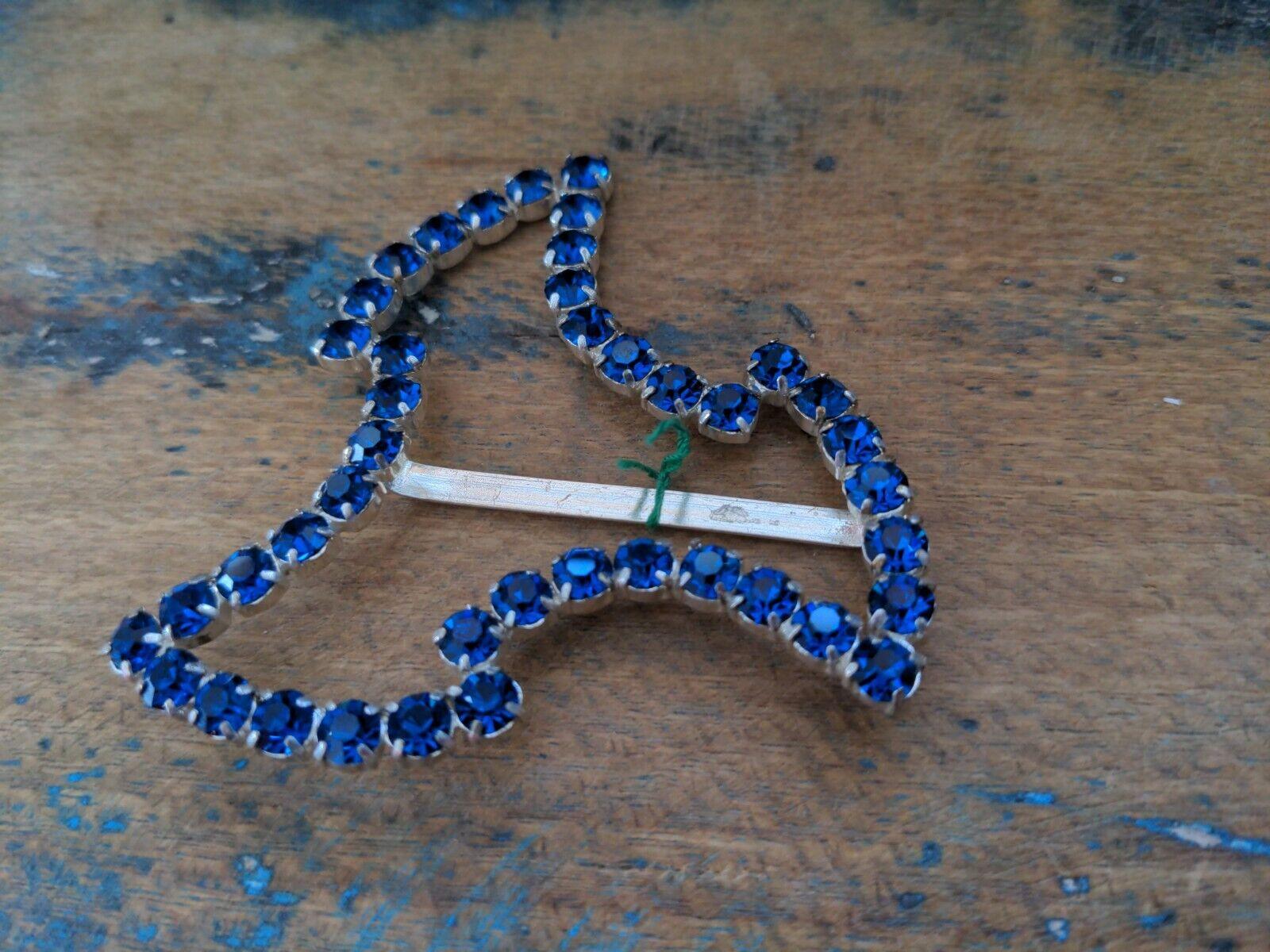 ♥ viejo encantador adorno en la cintura con azul pedrería 60 x 60 mm ♥