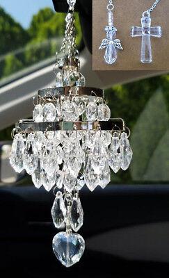 EE/_ KD/_ Rhinestone Cross Jesus Car Rear View Mirror Hanging Pendant Decor Splend