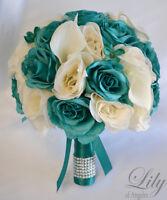 17 Piece Package Silk Flower Wedding Bridal Bouquets Bride Teal Emerald Ivory