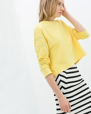 ZARA BRIGTH YELLOW  CROPPED T-SHIRT TOP BLOUSE LONG SLEEVES SIZE S 6 8 10 UK