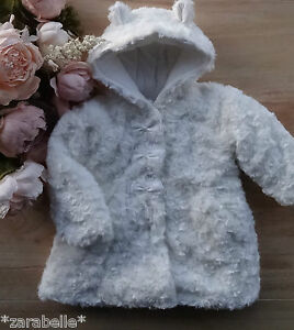 Confident Baby Girls Cream Off White Soft Deluxe Rosebud Hooded Jacket 6-12-18-24 Months Customers First Outerwear