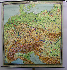 Map Of Germany 1960.Details About Schulwandkarte Wall Map Map Germany W Germany Gdr Alps 82 11 16x89 3 8in 1960