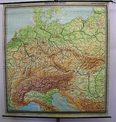 Schulwandkarte Wall Map Card Germany W Gdr Alps 82 11 16x89 3 8in