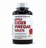 American Health Apple Cider Vinegar Tablets Natural Vegetarian Formula 200 Tabs