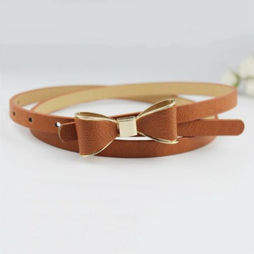 Ladies Women Candy Colour Bowknot Buckle Skinny Leather Thin Waist Belt EbFiL
