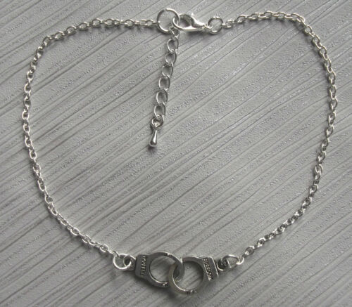 Silver plated handcuffs charm anklet ankle bracelet ankle chain