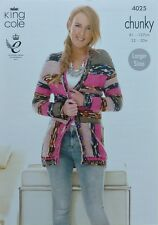 Tejer patrón señoras fácil de punto con cuello en V Manga Larga Chaqueta Larga Grueso 4025