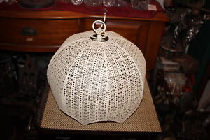 Vintage Mid Century Modern White Lattice Metal Chandelier