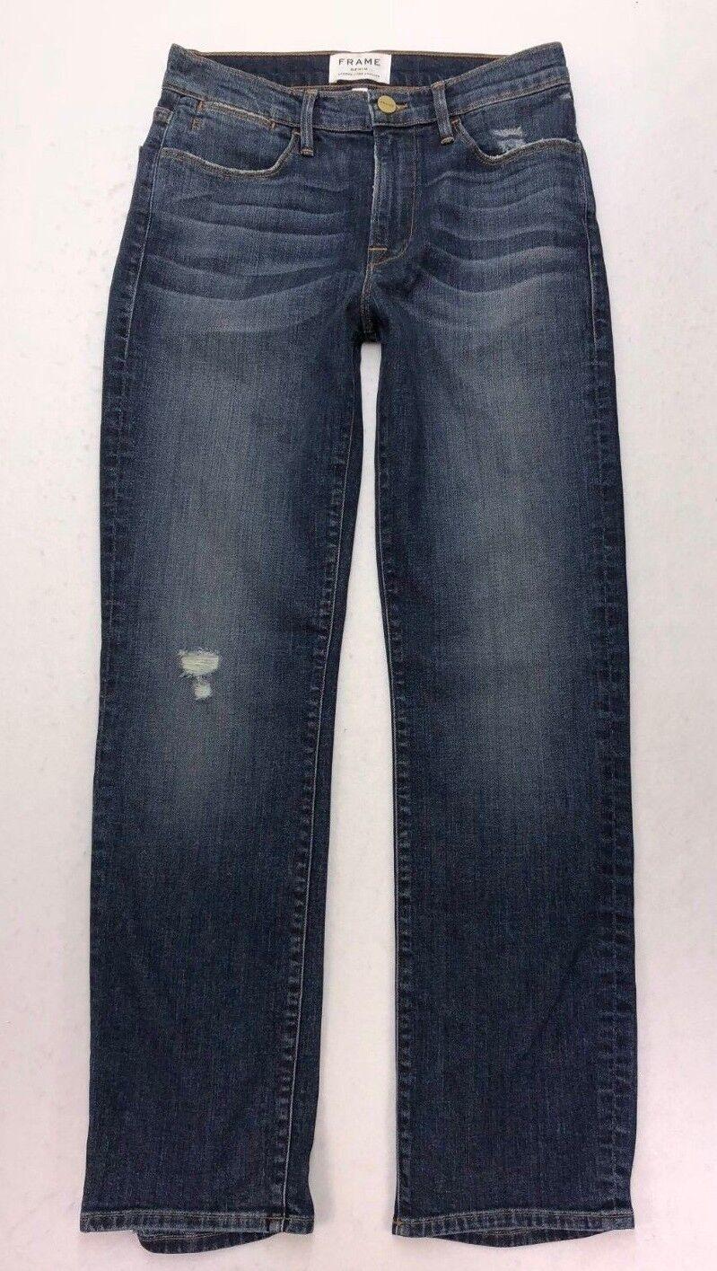 J2 Frame Denim High Rise Straight Crop Super Stretch Aged Jeans sz 27 USA MADE