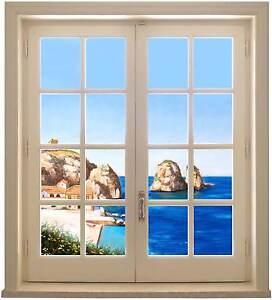 Sticker trompe l 39 oeil adesivo finestra sul mare di scopello con faraglioni ebay - Trompe l oeil finestra ...