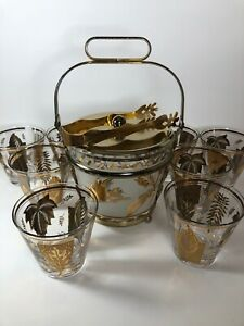 Vtg-Cocktail-8-Low-Ball-Rocks-Glasses-amp-Ice-Bucket-Set-Gold-Leaves-Birds-MCM-USA