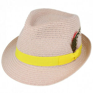 3877d87ef2b66 Mens Ladies Peach Packable Straw Summer Trilby Hat With Band and ...